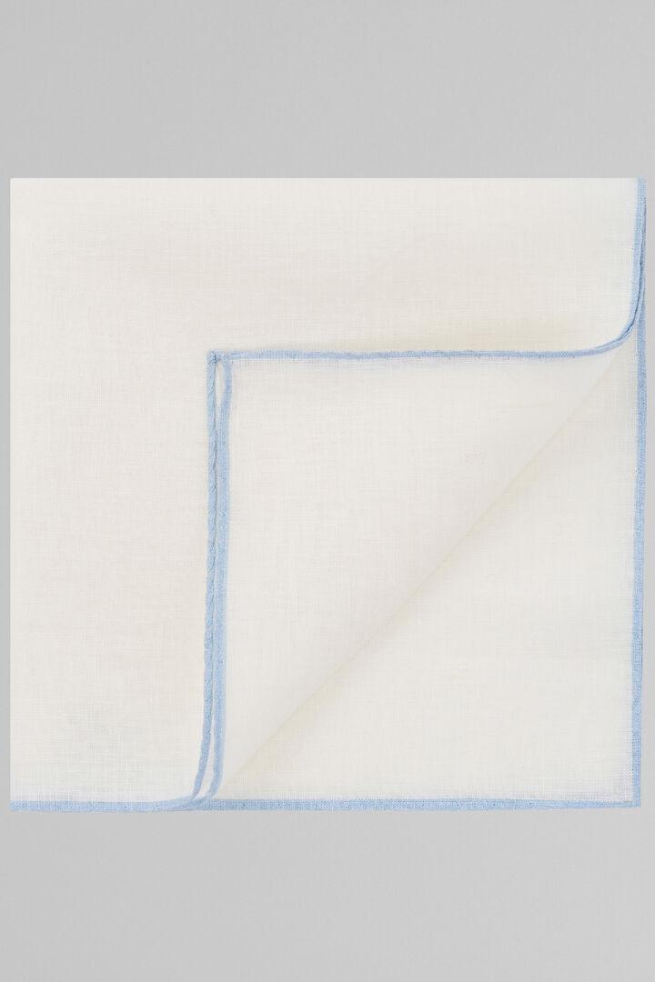 White Pure Linen Pocket Square With Sky Blue Border, White - Light blue, hi-res