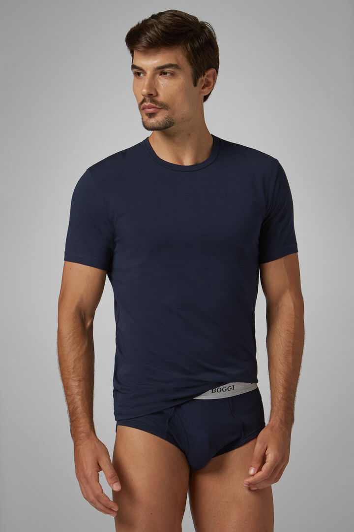 T-Shirt Intimo Blu Navy Cotone Stretch, Navy, hi-res