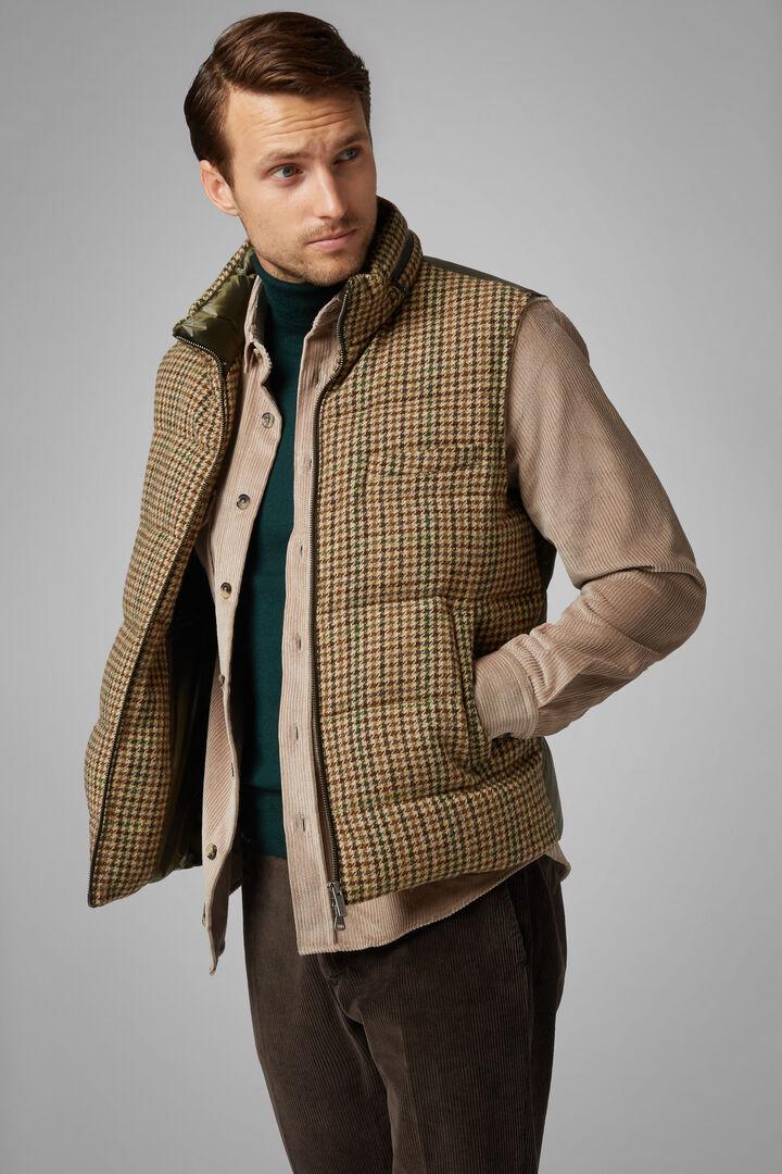 Houndstooth Wool And Nylon Down Gilet, Dark brown, hi-res