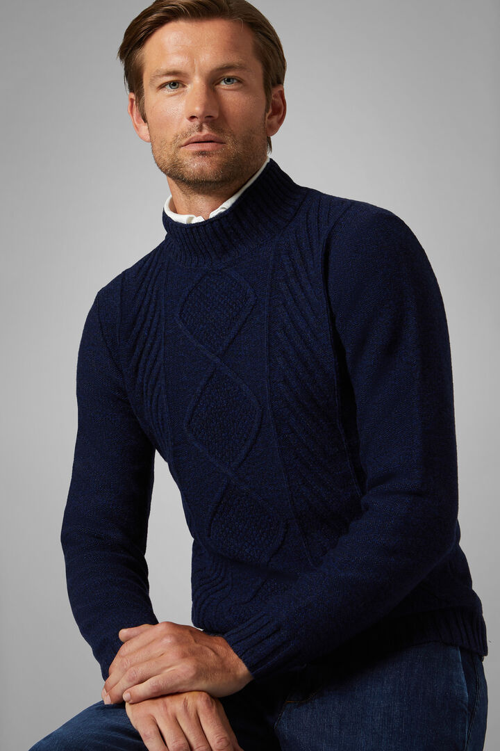 Wool Blend Mock Polo Neck Jumper, Blue, hi-res