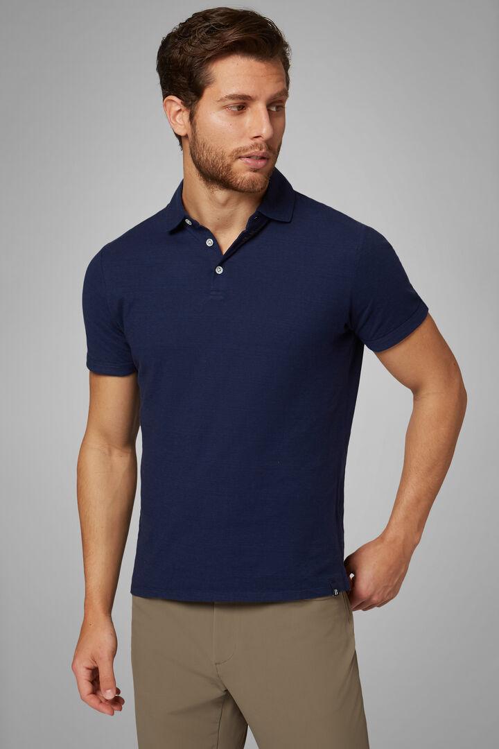 Polo Vert En Jersey Coton & Lin, bleu marine, hi-res