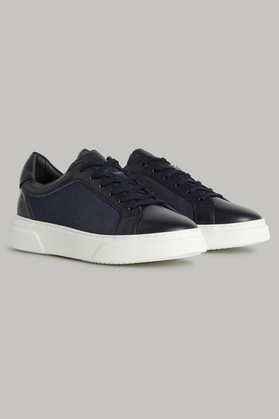 Navyblaue sneakers aus technischem stoff und leder, , hi-res