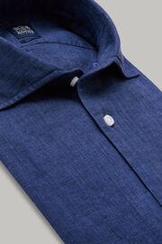 Navyblaues hemd mit bowling-kragen aus leinen regular fit, Navy blau, hi-res