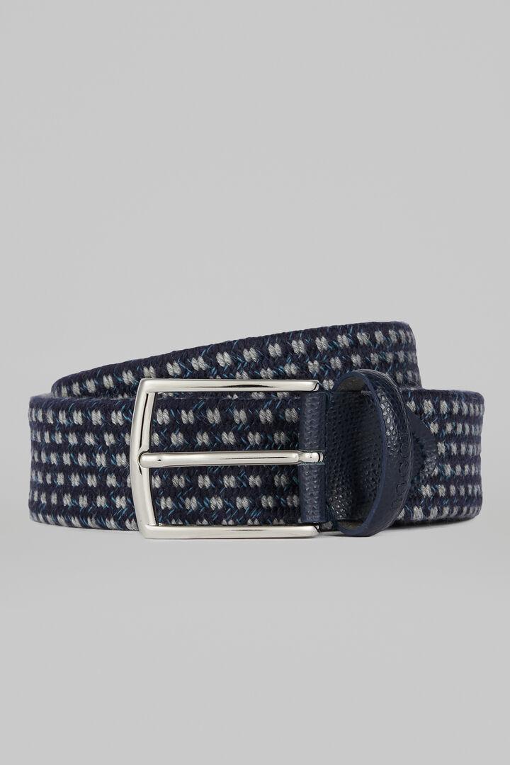 Cintura Tubolare Lana E Pelle Scamosciata, Navy, hi-res