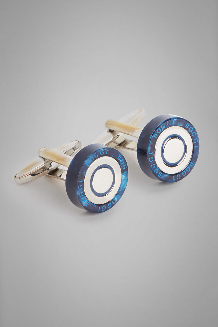 Round Metal Cufflinks With Contrasting Edges, Blue, hi-res