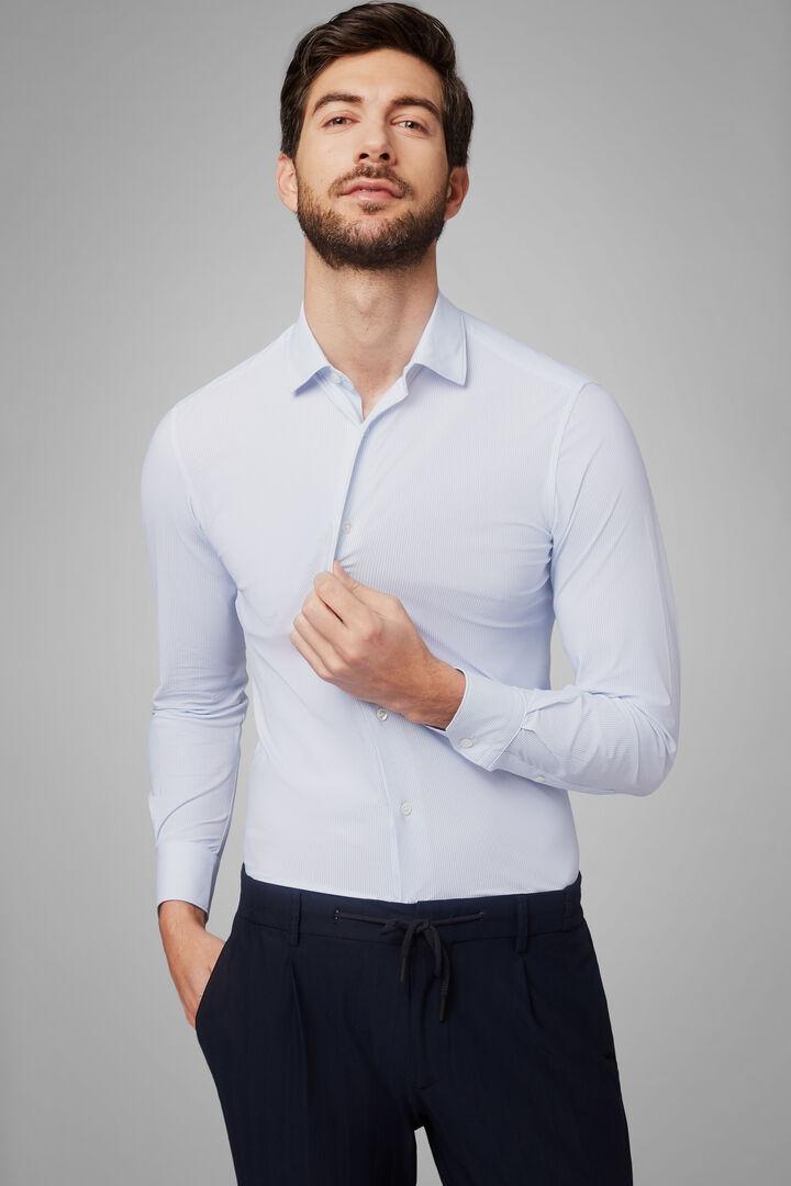 Hemd Mit Azurblauem Druck Und Tokyo-Kragen Slim Fit, Hellblau, hi-res