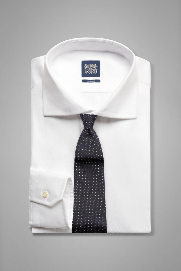 Slim Fit White Shirt With Windsor Collar, White, hi-res