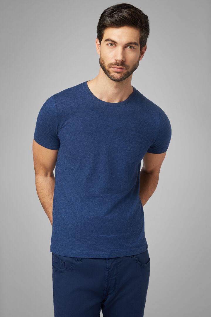 T-Shirt Denim In Jersey Di Cotone, Denim, hi-res
