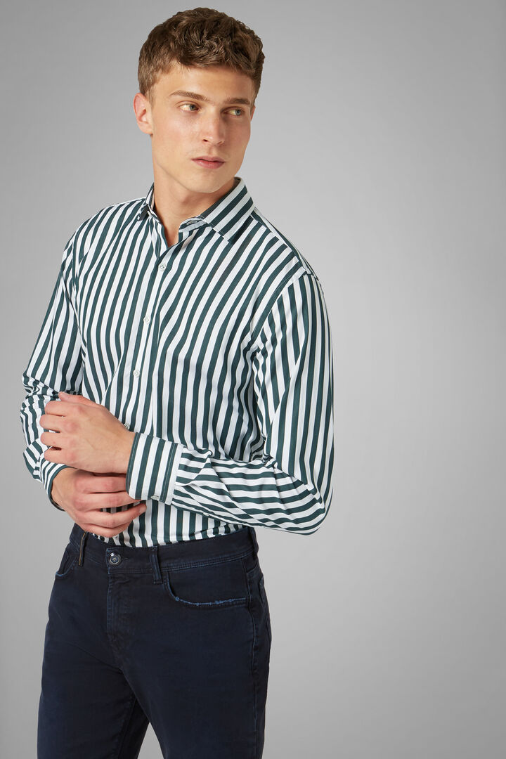 Regular Fit White/Green Striped Shirt With Closed Collar, White - Green, hi-res