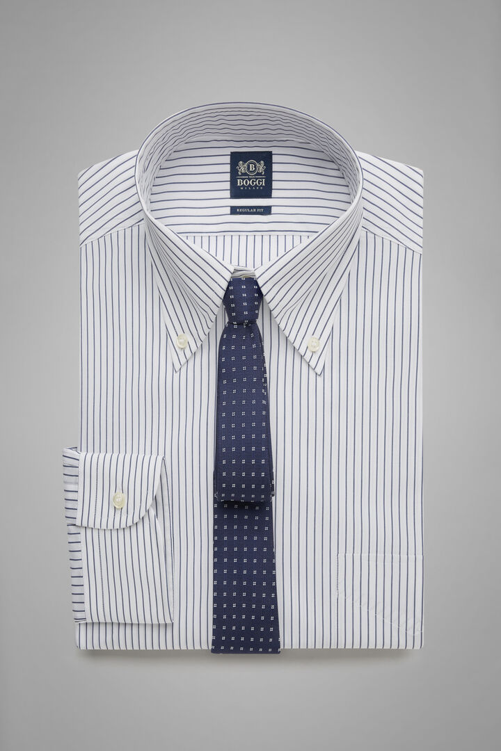 Hemd Mit Blauen Streifen Und Boston-Kragen Blau Regular Fit, Bianco - Navy, hi-res