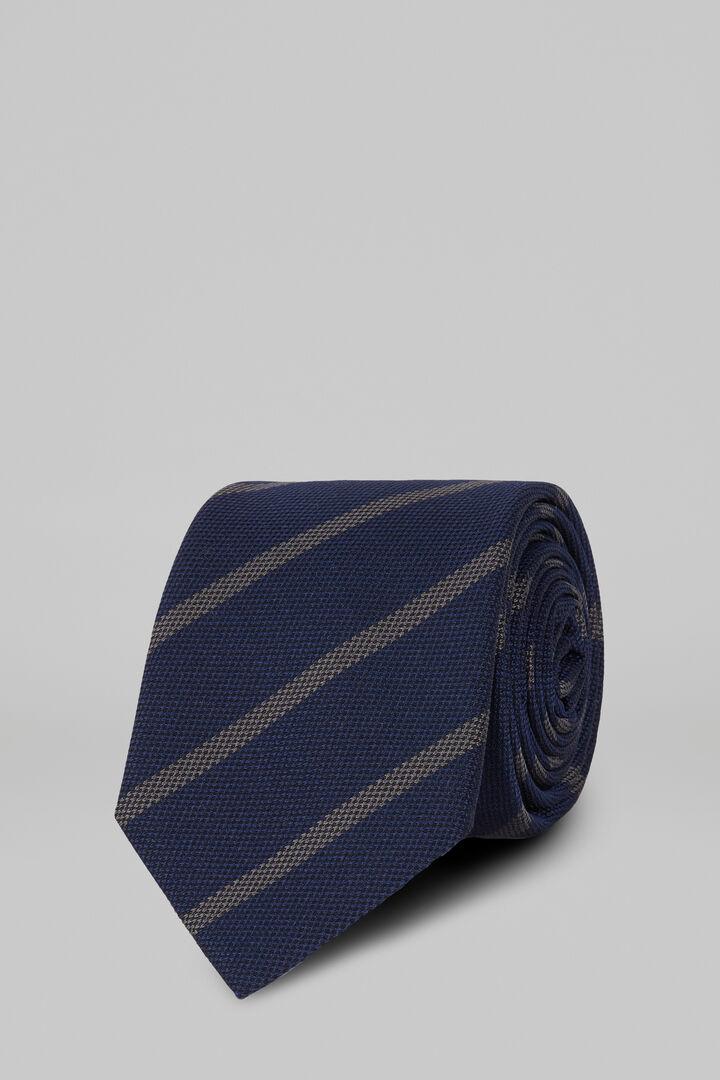 Regimental Silk Jacquard Tie, Blue - Grey, hi-res