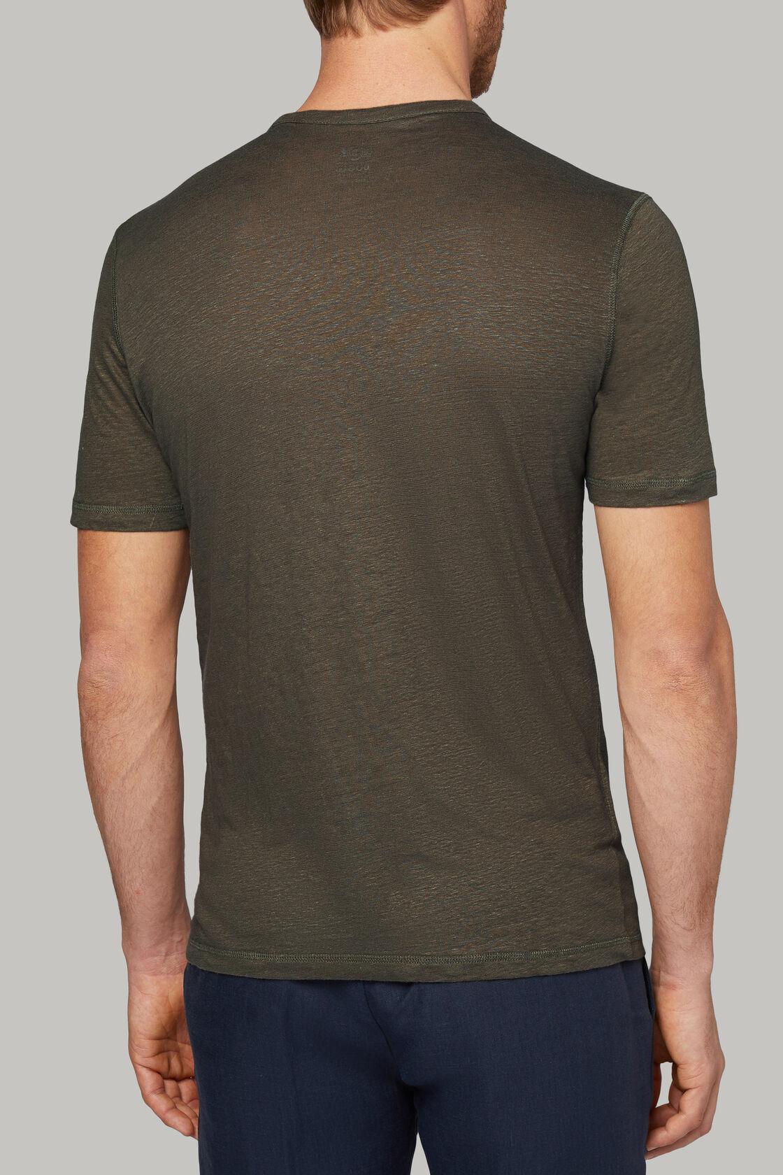 T-shirt aus elastischem leinenjersey, Taupe, hi-res