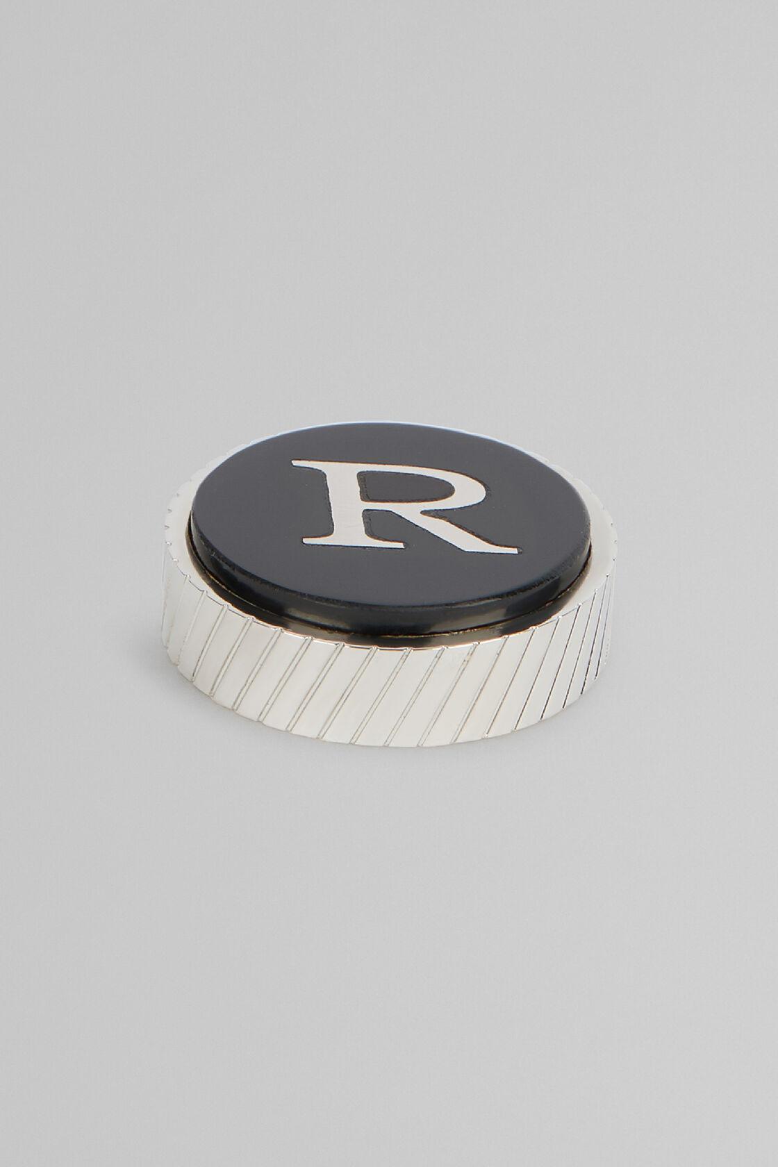 Metal Letter R Cufflinks, Black, hi-res