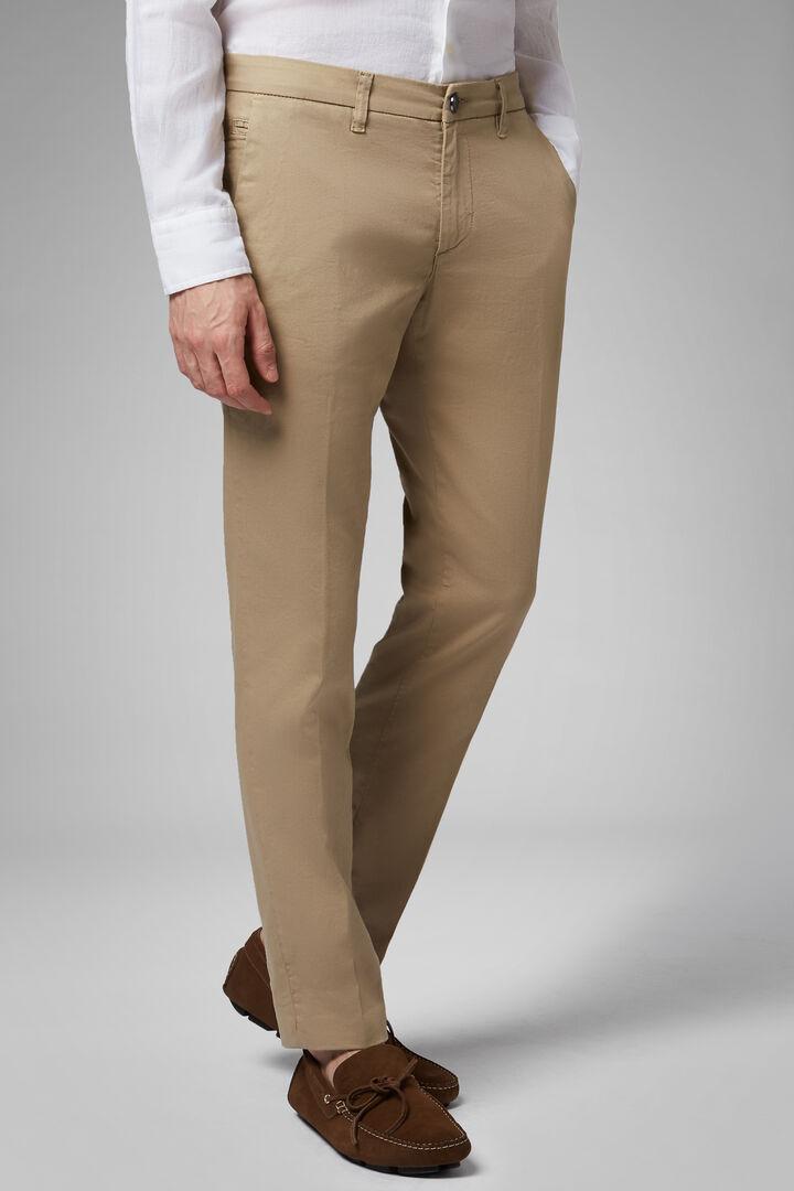 Pantalon Stretch En Coton Tencel Effet Délavé, chameau, hi-res