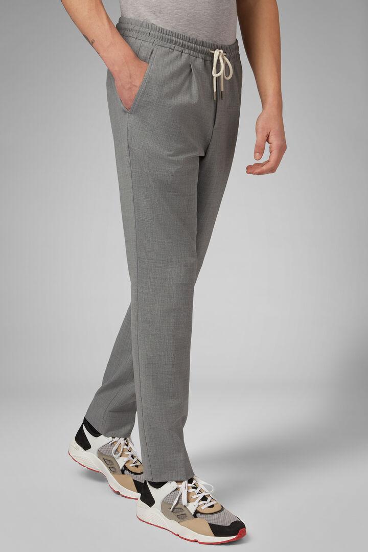 Pantalone In Lana Lavabile Con Coulisse Regular, Grigio chiaro, hi-res