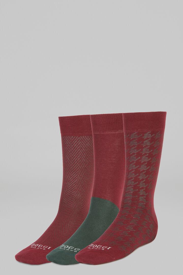 Pack Of 3 Short Socks, Burgundy - Green, hi-res