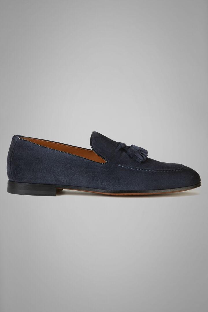 Suede Loafers With Tassel Details, Denim, hi-res