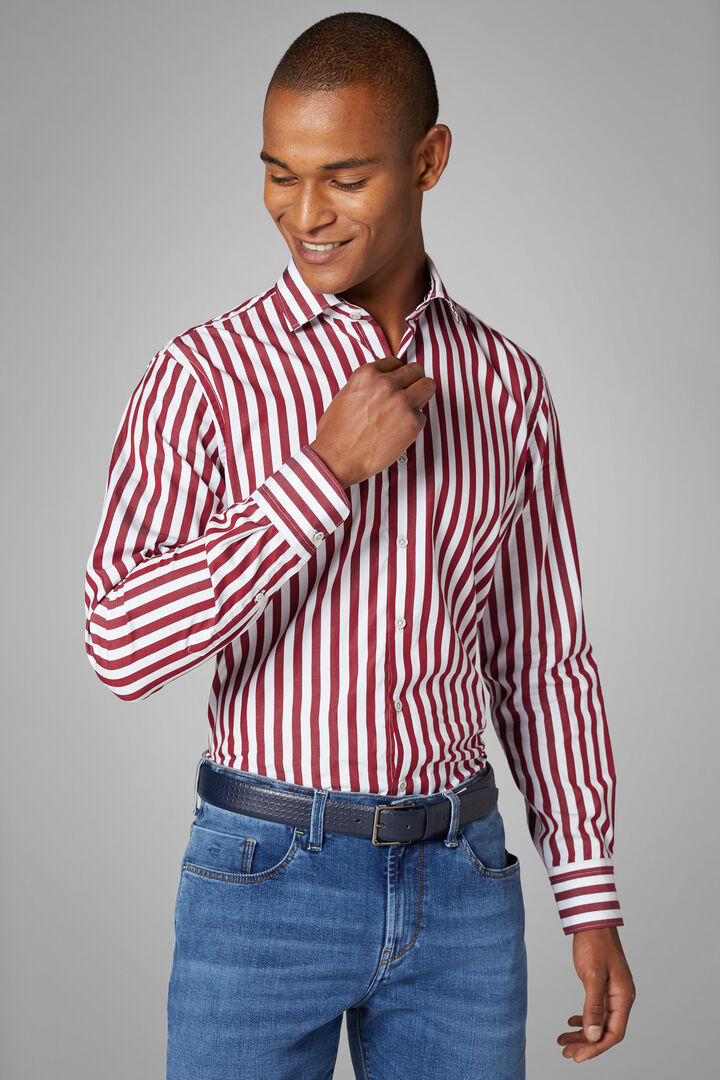 Regular Fit White/Burgundy Striped Shirt With Closed Collar, White - Burgundy, hi-res
