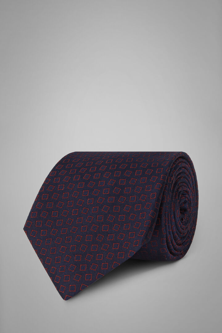 Patterned Silk Jacquard Tie, Blue - Burgundy, hi-res