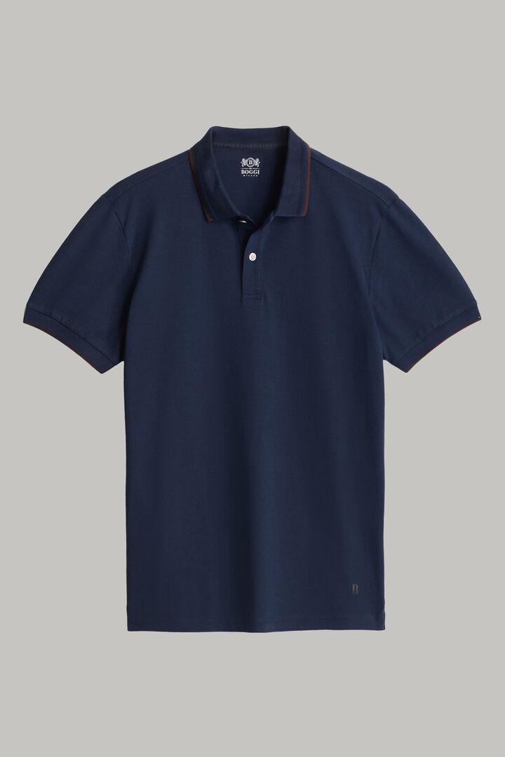 Polo En Piqué De Coton Tencel À Coupe Droite, bleu marine, hi-res