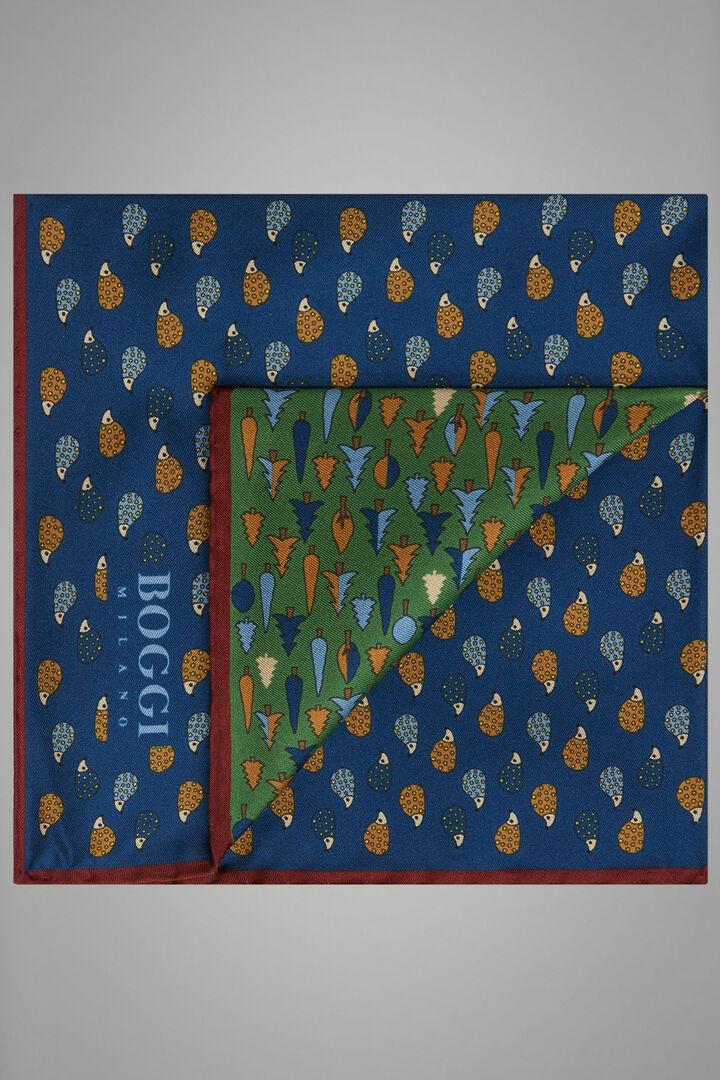 Printed Silk Conversational Pocket Square, Blue - Green, hi-res