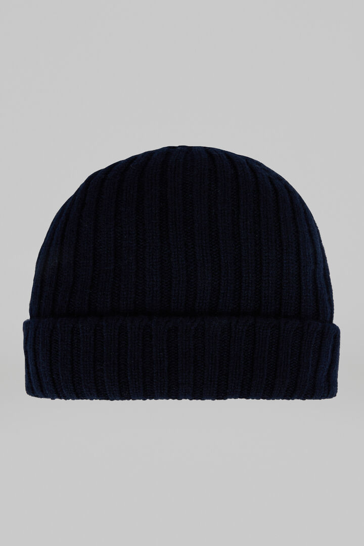 Ribbed Pure Cashmere Hat, Navy blue, hi-res