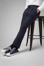 Pantalone Gessato In Lana Travel Con Coulisse, Blu, hi-res