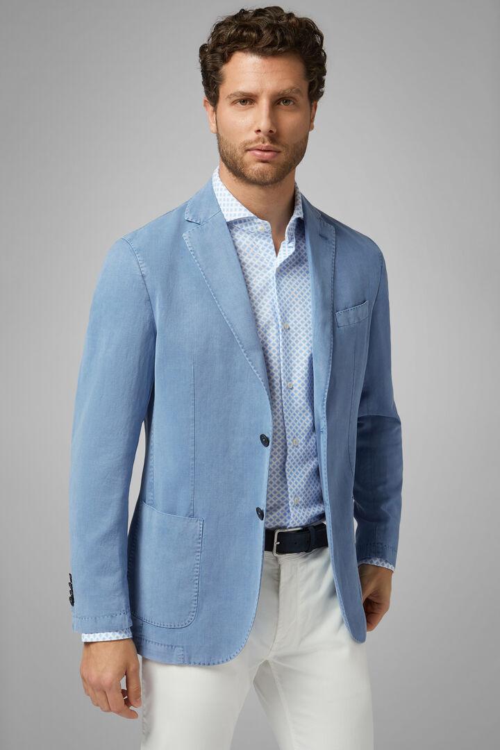 Sky Blue Tencel Linen Brescia Blazer, Light blue, hi-res