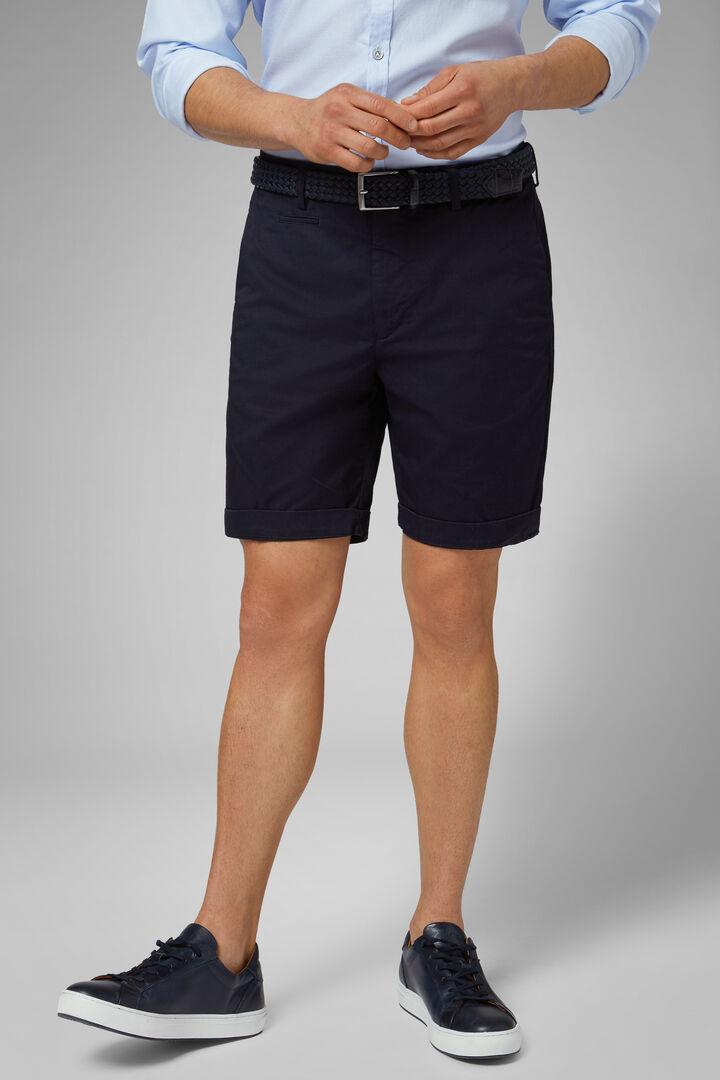 Plain Cotton Gabardine Bermuda Shorts, Navy blue, hi-res