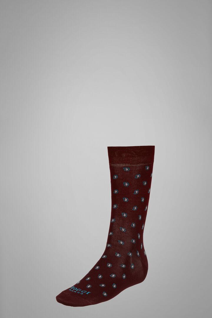 Chaussettes Courtes Motif Cachemire, Bourgogne, hi-res