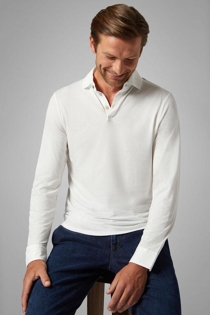 White Cotton/Tencel Jersey Polo Shirt, White, hi-res