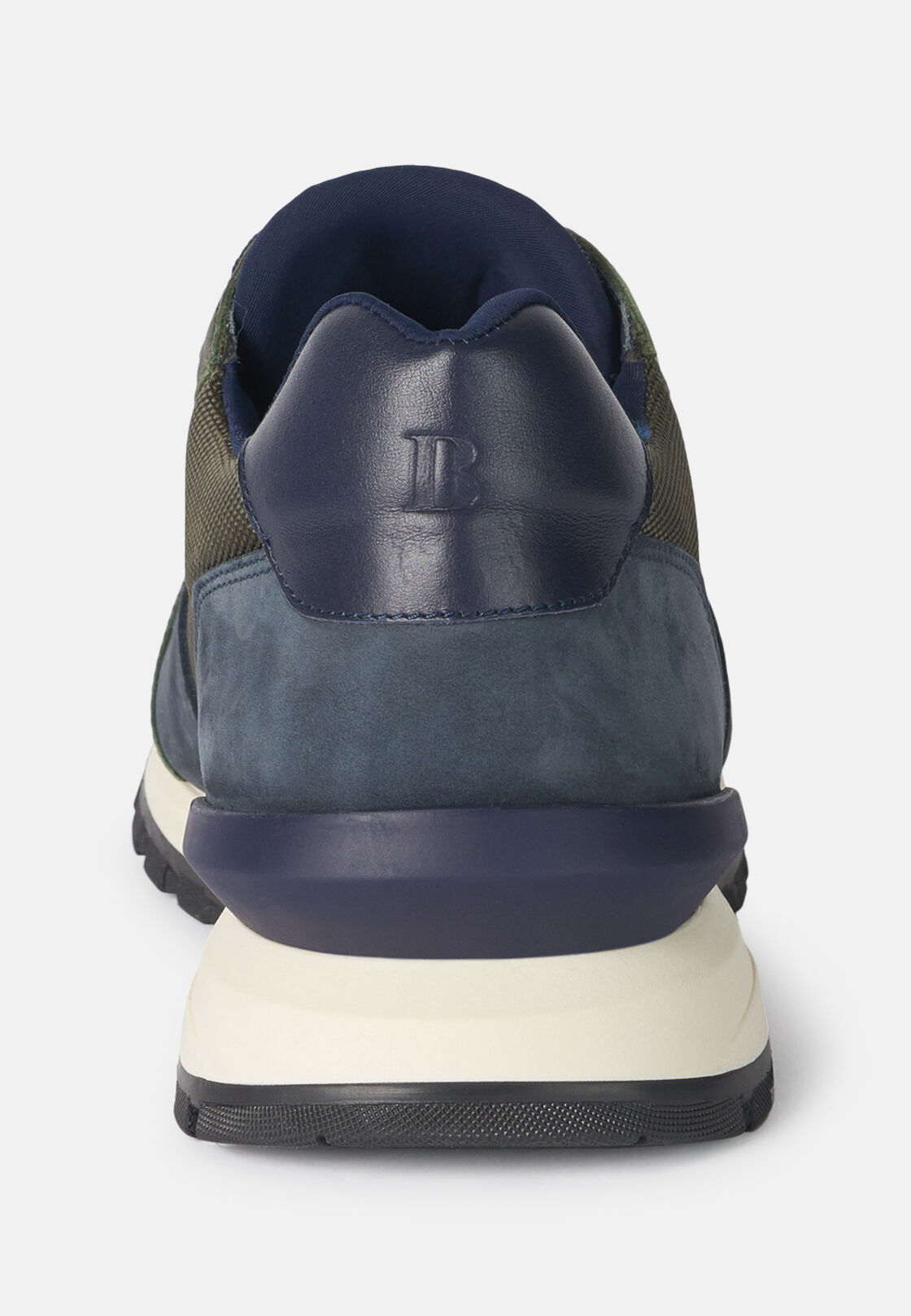 Sneakers militare in tessuto tecnico e pelle, Militare, hi-res
