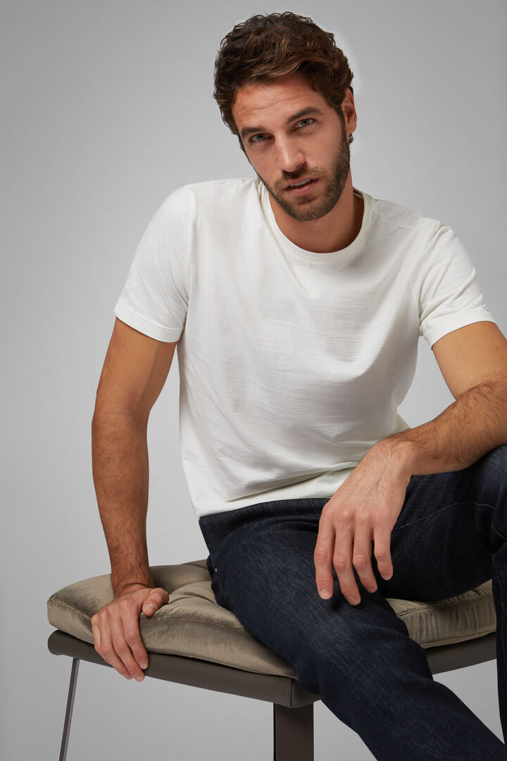 T-Shirt Weiss Aus Baumwolljersey, Weiß, hi-res