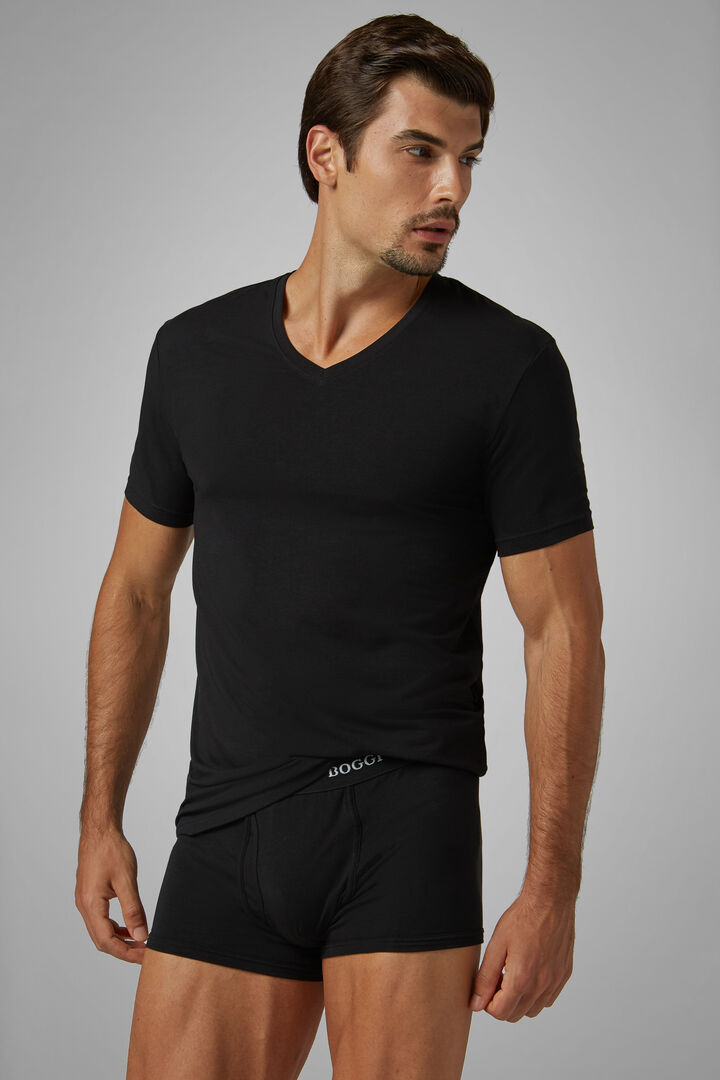 Black Stretch Cotton Undershirt, Black, hi-res