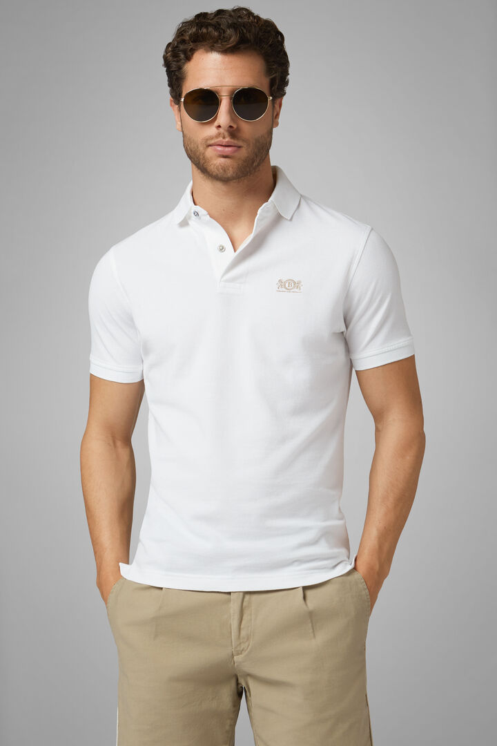 White Cotton Piqué Polo Shirt, White, hi-res