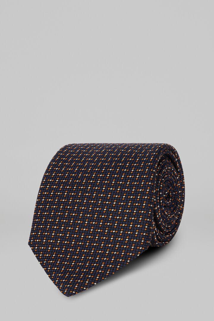 Cravate À Motifs En Soie Et Coton Jacquard, Bleu - Orange, hi-res