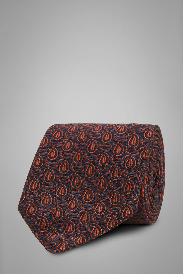 Cravatta Paisley In Seta Cotone Jacquard, Blu - Arancione, hi-res