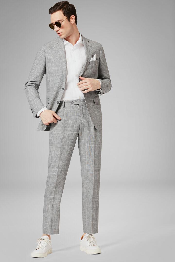 Grey Wool & Linen Blend Milano Suit, Grey, hi-res