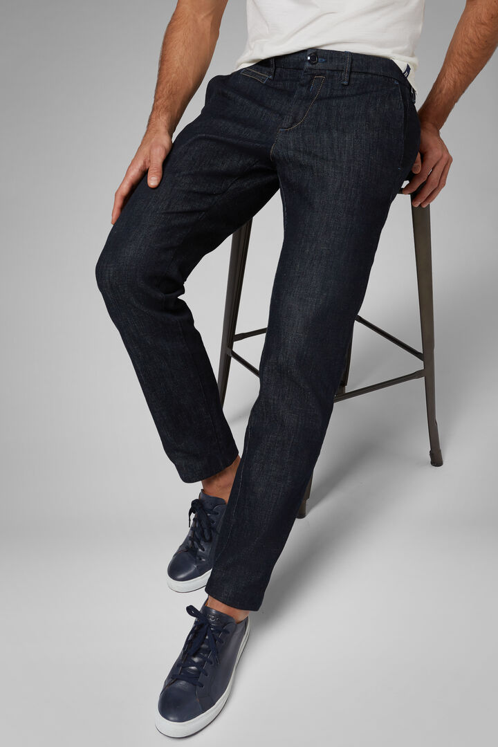 Pantalone Denim Con Lavaggio Scuro Slim, Denim, hi-res