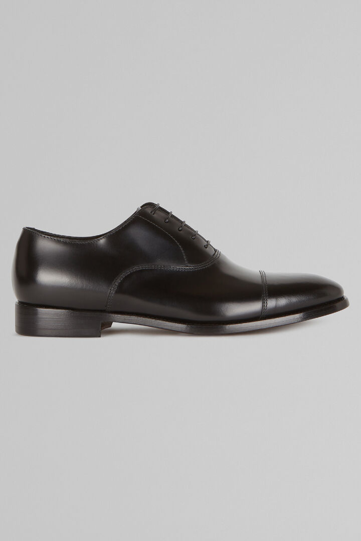 Smooth Leather Oxford Shoes, Black, hi-res