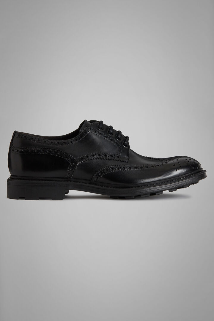 Calfskin Wingtip Derby Shoes, Black, hi-res