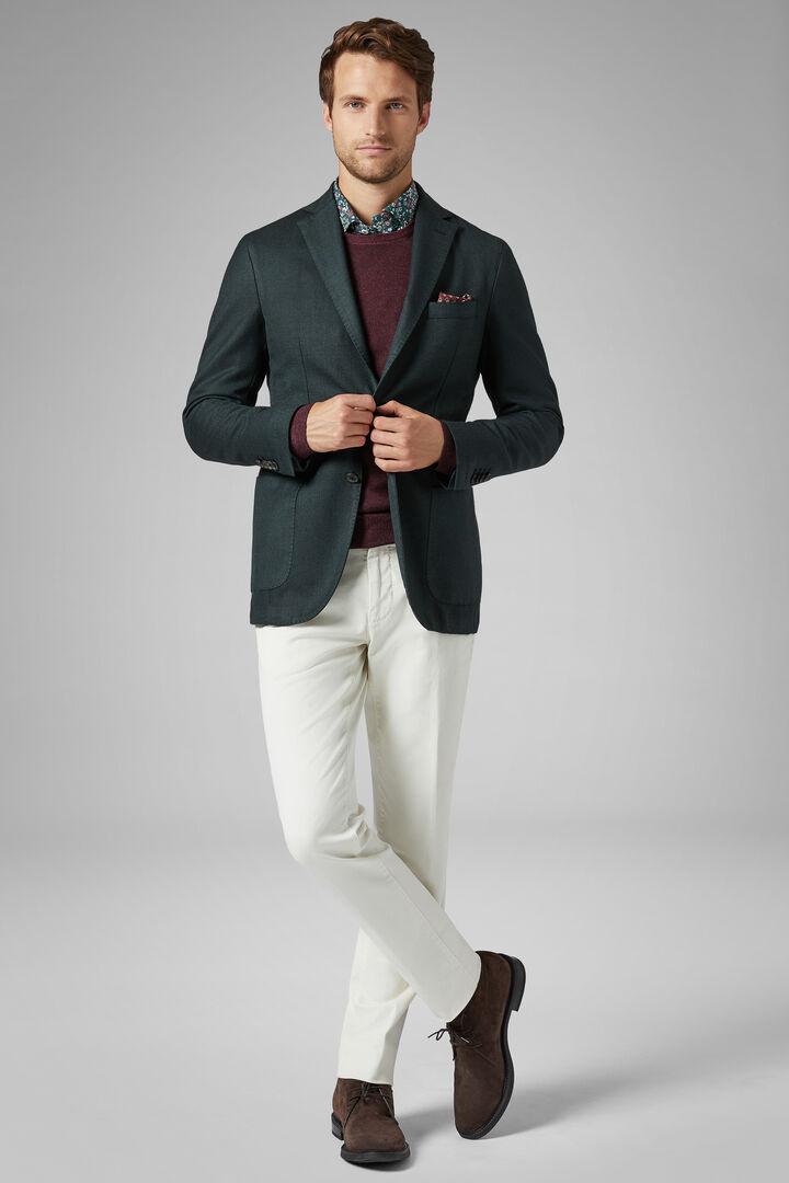 Green Wool Blend Brescia Blazer, Green, hi-res