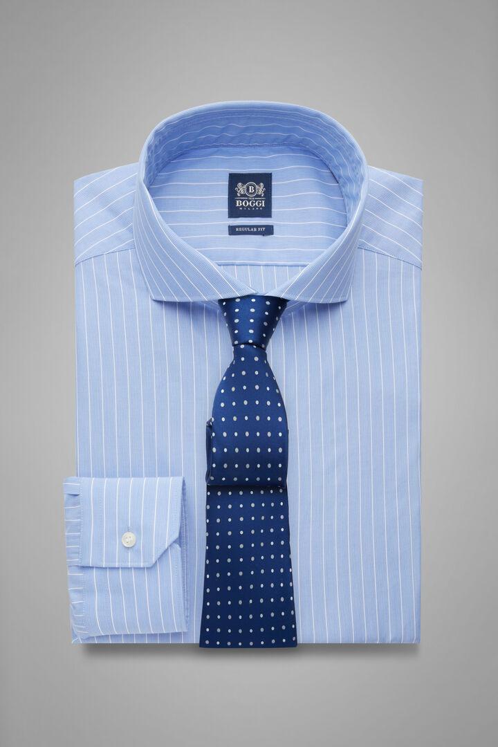 Hemd Mit Azurblauen Streifen Mit Napoli-Kragen Regular Fit, Hellblau, hi-res