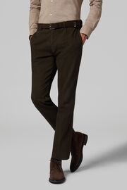 Pantalon En Coton Sergé Stretch Coupe Droite, Marron foncé, hi-res