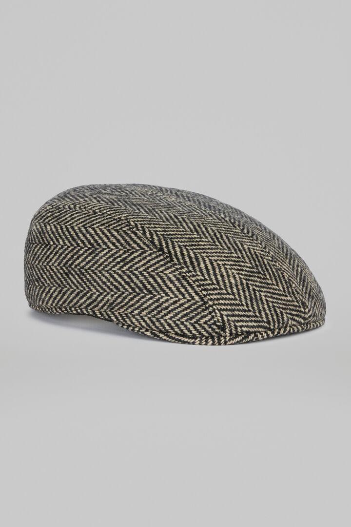 Herringbone Wool Flat Cap, Black - Natural, hi-res