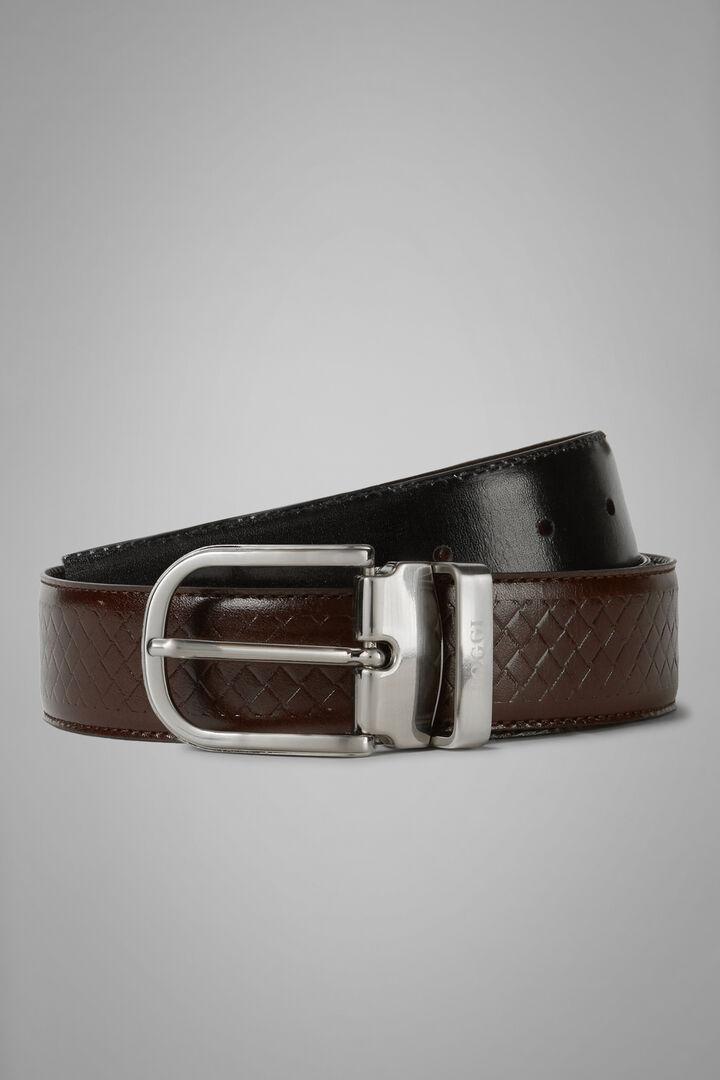 Reversible Woven Leather Belt, Dark brown - Black, hi-res