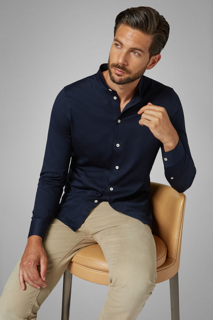 Polo Camicia Navy Collo Coreano Slim Fit, Navy, hi-res