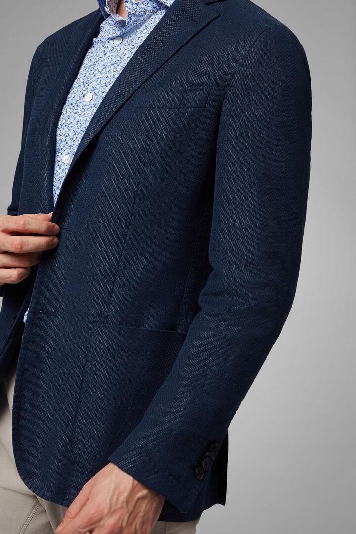 Blazer Blu Brescia In Cotone E Ramie', Blu, hi-res