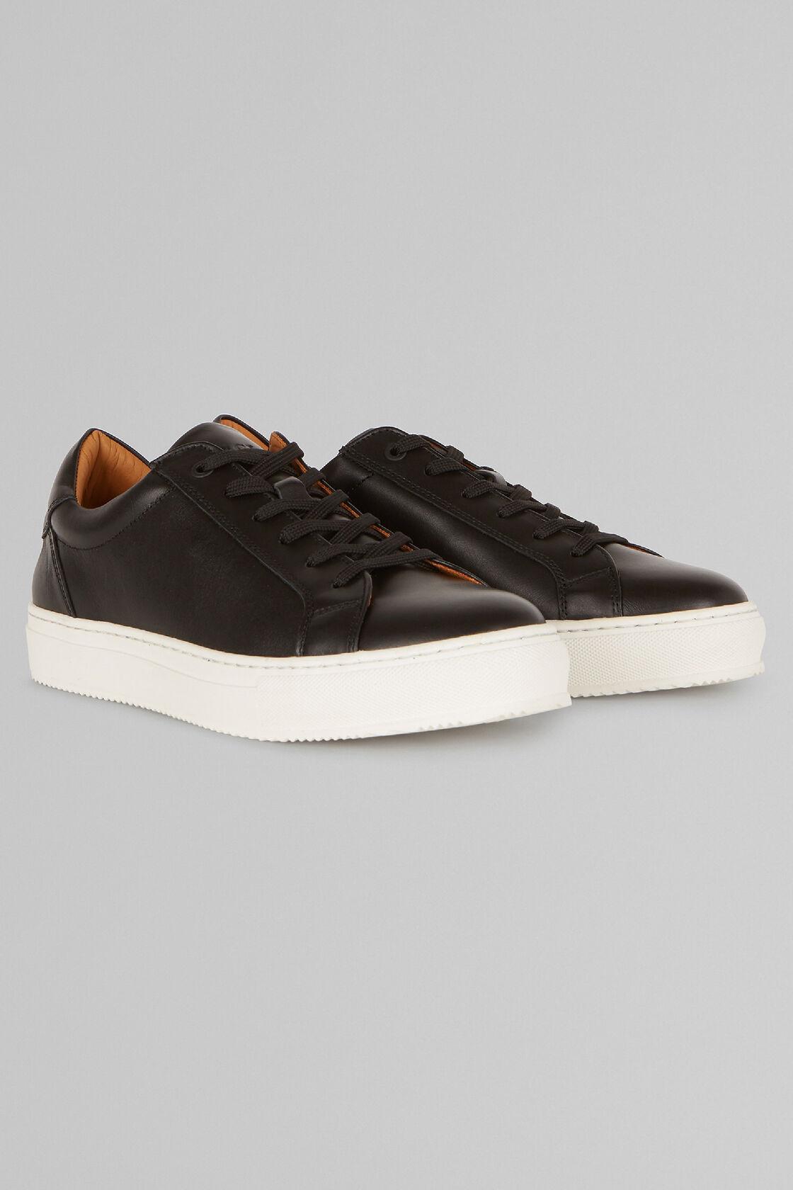 Sneaker Aus Glattleder, Schwarz, hi-res