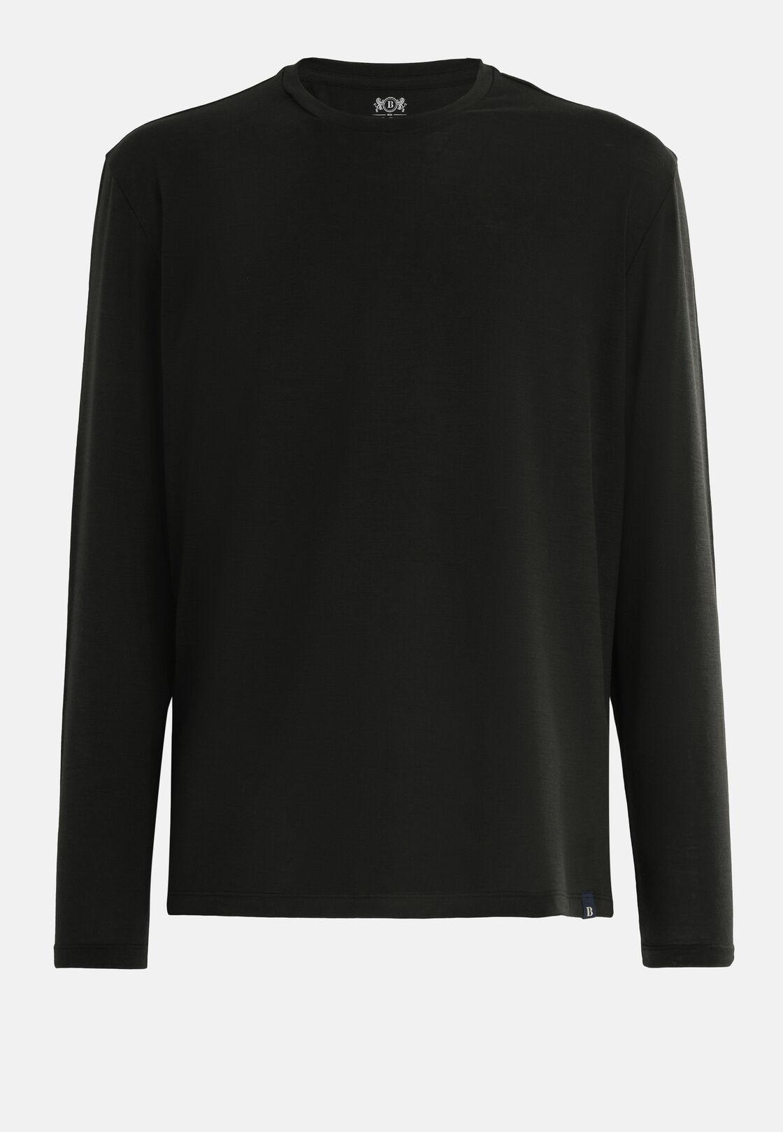 T-shirt lana merino e filato tecnico manica lunga, Nero, hi-res